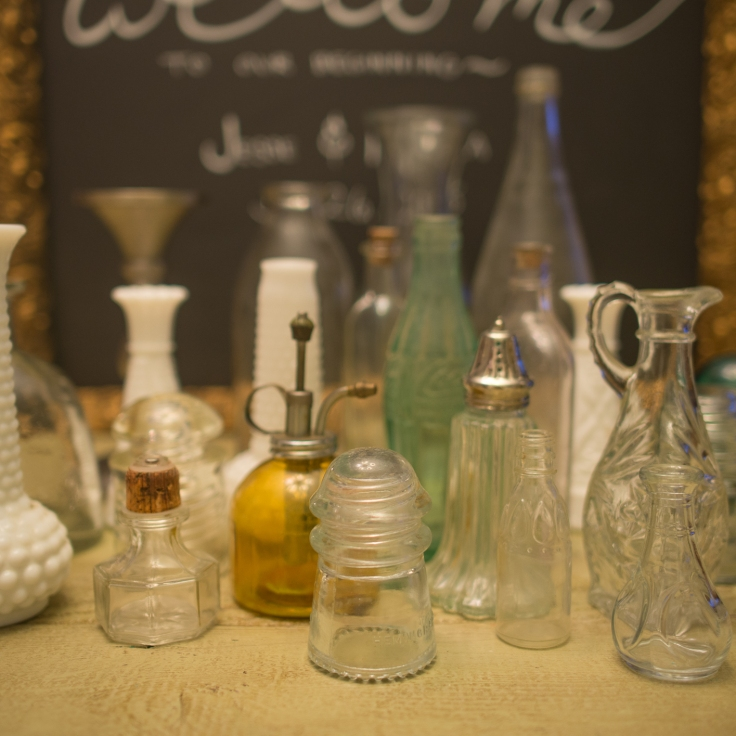 Assorted Bottles- for vases or to reflect light