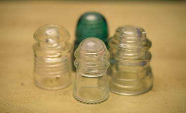 Antique Glass Insulators ~ use a battery operated tea light underneath for a soft glow