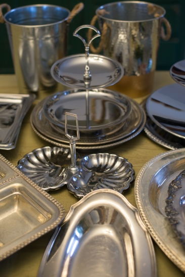 Silver Serving Platters and Tiered Trays