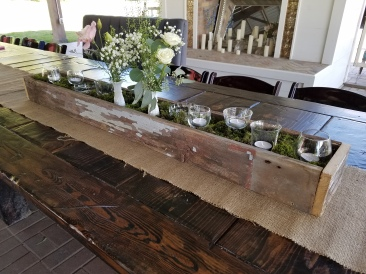 "48"" Barn Wood Box on Burlap Runner"