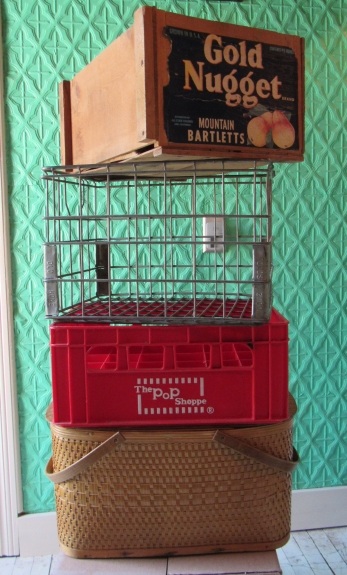 Top to Bottom: Tall Fruit Crate, Wire Milk Crate, Divided Soda Crate, Rectangular Picnic Basket